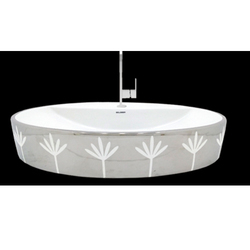 Flower Print Table Top Wash Basin