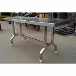 Mirror Finish Stainless Steel Dining Table, for Restaurant, Shape: Rectangle (Table Shape)