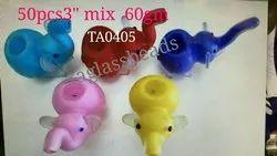 Glass Smoking Animal Mix Colour Elephant