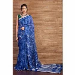 Blue Linen Check and Doby Work Saree, 5.5 M (Separate Blouse Piece)