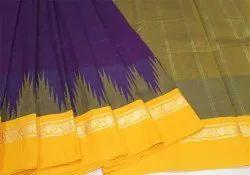 Cotton Dark Colors Handloom Korvai Mercerised Temple Border Sarees, Without Blouse Piece, 5.5 m (separate blouse piece)