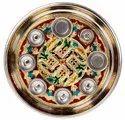 12 Inch Shubh Labh Silver Pooja Thali