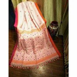 Original fabric Party Wear Designer Linen Saree, 6 m (with blouse piece)