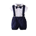 White And Navy Blue Party Wear Baba Boy Romper Suits