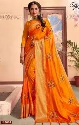 Fancy Designer Sana Silk Saree With Embroidery Butta