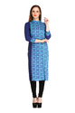 Cottinfab Women's Blue Panelled Kurti
