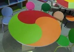 Plywood with Mica WoodCraft Kids Round Table, Size: 4' X 4