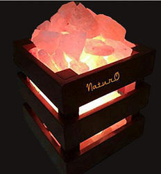 Square Basket Lamp With Himalayan Rocksalt Crystals