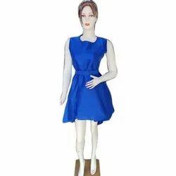 Casual Wear Ladies Blue Cotton Plain One Piece Dress, Size: S-XXL