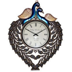 Double Peacock Wooden Wall Clock Antique Look