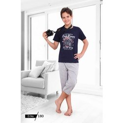 Hosiery Black(T Shirt) Boys Half Sleeves Night Suit, Size: Available In 4 To 16