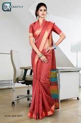 Pink with Golden Border Uniform Saree