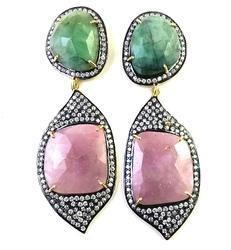 Emerald Sapphire Earrings
