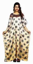 Caramel Color Night Wear Floral Printed Satin Silk Kaftan For Women