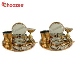 Choozee - Copper Thali Set of 2 (20 Pcs) of Plate, Bowl, Spoon,Glass & Ice-Cream Cup