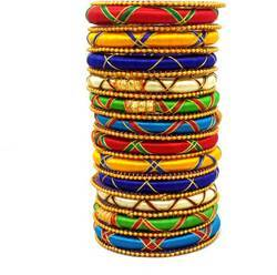 Multi colours silk threads bangles set