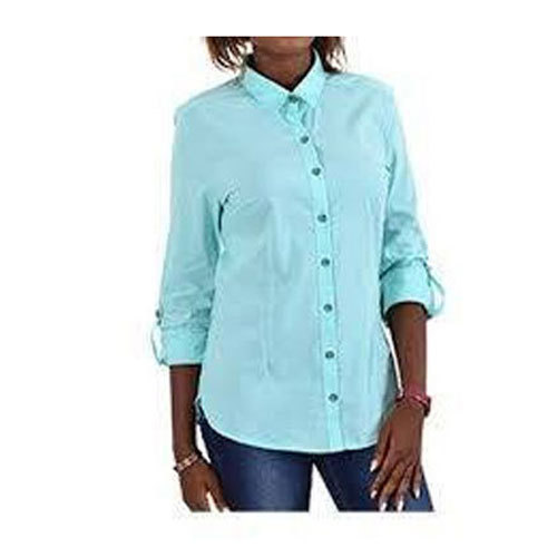 Cotton Plain Ladies Stylish Shirt