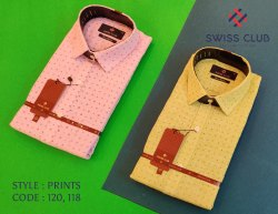 Fine Cotton Swiss Club Men's Formal Printed Shirt