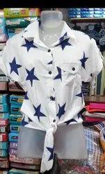 Girls Linens Cloth Printed Shirt