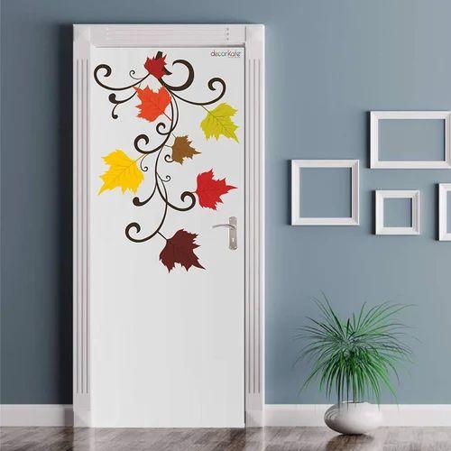 Multicolor Multiple Decor Kafe Decal Style Autumn Flowers Door Wall