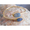 Handmade Gold Plated Druzy Gemstone Bangles
