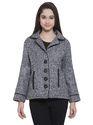 Martini Casual Grey Notched Lapel Collar Short Woolen Jacket