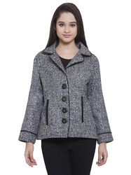 Grey Notched Lapel Collar Short Woolen Jacket