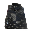 Casual Dotted Mens Black Shirts