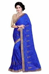 Jacquard Net Embroidery Work Blue Color Party Wear Traditional Wedding Wear Saree