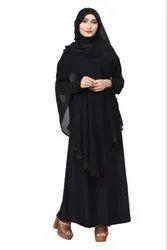 Women's Diamond Lycra Abaya Burqa with Attached Chiffon Jacket and Hijab Scarf