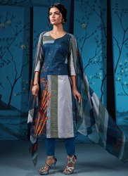 Blue Kesari Exports Cotton Printed Churidar Salwar Suits