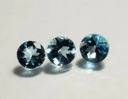 Natural London Blue Topaz Faceted Round Loose Gemstone