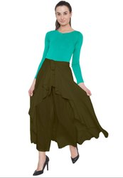 Mahendi Green American Crepe Ruffel Palazzo Skirt