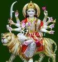 Marble Durga Mata Sitting On Tiger Murti