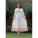 Ladies White Printed Anarkali Kurti
