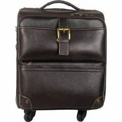 Fialle Black Leather Luggage Trolley Bag