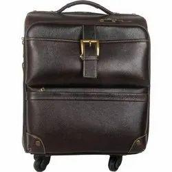 Leather Luggage Trolley Bag
