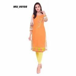 Orange Printed Ladies Kurti