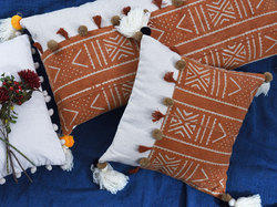 Mud Print Pom Pom Cushion Covers