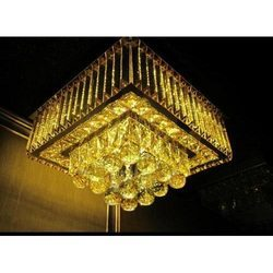 Glass Chrome Crystal Ceiling Chandelier, Shape: Square