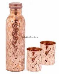 CU-23 Copper Diamond Cut Bottle with 2 Glasses