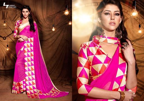 6166cc1660eb5d Georgette Party Wear Designer Saree, Unstitched/material, Rs 695 ...
