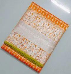 Silk Real Zari Silver Kanchipuram Silks Sarees, Hand Made, With Blouse Piece
