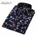 Cotton Collar Neck Mens Designer Blue Shirt