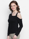 Ladies One Side Shoulder Black T-Shirt
