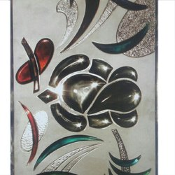Multicolor Floral Decorative Glass, Size: 1220x1830mm