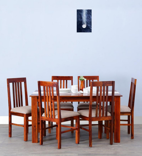 Six Seater Dining Set In Honey Oak Finish