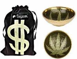 Brass Ashtray Round Bowl Leaf Design 3.5 Inch 85mm Round Incl. Velvet Pouch