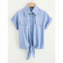 Alpha Half Sleeve Ladies Hem Knot Denim Shirt, Size: S-XXL