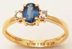 Single Stone Cute Girls Yellow Gold Ring